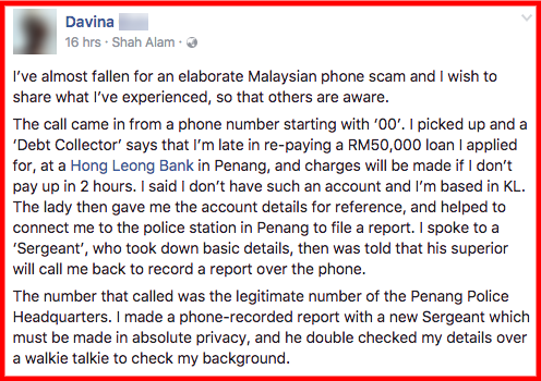 This Malaysian scam is scary    because you get called